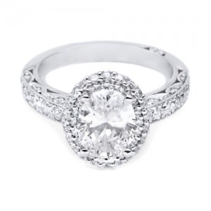 HT2520OV9X7 Tacori Crescent Platinum Engagement Ring