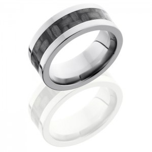 Lashbrook C8F14-CF Polish Titanium Carbon Fiber Wedding Ring or Band