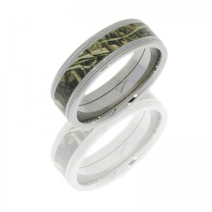 Lashbrook CAMO7.5FGEW2UMIL14-RTMAX4 POLISH Titanium Wedding Ring or Band