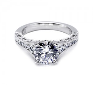 Tacori Platinum Crescent Engagement Ring HT25107