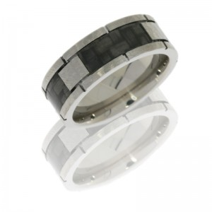 Lashbrook C8F4SEG/CF HAMMER Titanium Wedding Ring or Band