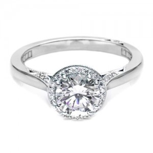 2639RD65 Tacori Dantela Platinum Engagement Ring
