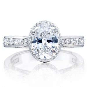 2646-3OV85X65 Platinum Tacori Dantela Engagement Ring