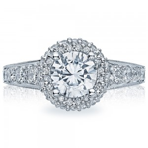 HT2516RD65 Platinum Tacori Blooming Beauties Engagement Ring