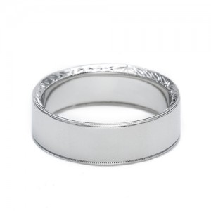 Tacori Platinum Hand Engraved Wedding Band 2557 8