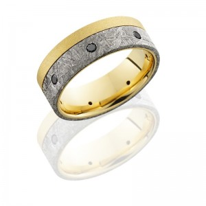 Lashbrook 18KY8F15OCE/METEORITBLKDIA7X.04 BEADBLAST Meteorite Wedding Ring or Band