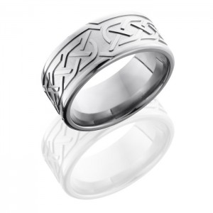Lashbrook 9FCeltic5 Bead-Polish Titanium Wedding Ring or Band