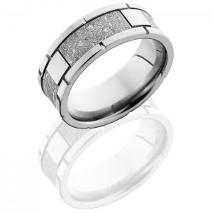 Lashbrook CC8F4SEG-Meteorite Polish Cobalt Chrome Meteorite Wedding Ring or Band