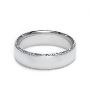 Tacori Platinum Hand Engraved Wedding Band 2554 5.5