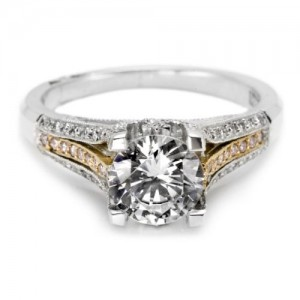 Tacori Crescent Platinum and 18 Karat Engagement Ring 2587PKRD7