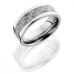 Lashbrook C8F14-SilverCF Polish Titanium Carbon Fiber Wedding Ring or Band