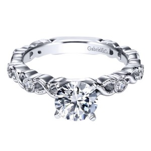 Gabriel 14 Karat Contemporary Engagement Ring ER5667W44JJ