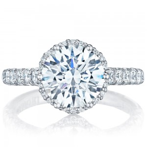 HT254725RD9 Platinum Tacori Petite Crescent Engagement Ring