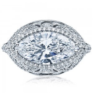 HT2612MQ16X8 Platinum Tacori RoyalT Engagement Ring