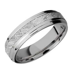 Lashbrook 6FGE13/METEORITE Titanium Wedding Ring or Band