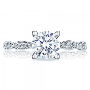 46-2RD65 Platinum Tacori Sculpted Crescent Engagement Ring