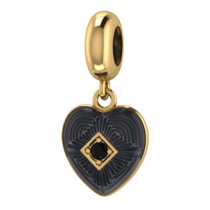 JLo Collection Endless Jewelry Black Big Heart 18k Gold Plated Charm 3875-1