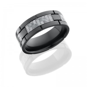 Lashbrook ZC8F4SEG/SILVERCF POLISH Carbon Fiber Wedding Ring or Band