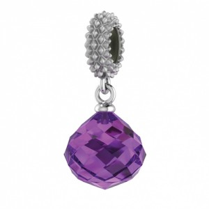 JLo Collection Endless Jewelry Amethyst Mysterious Drop Sterling Silver Charm 3301-1