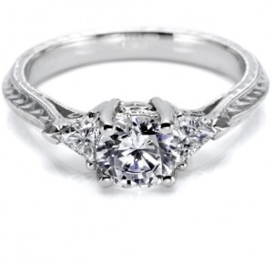 Tacori Hand Engraved 18 Karat Engagement Ring HT2227