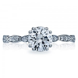 57-2RD65 Platinum Tacori Sculpted Crescent Engagement Ring