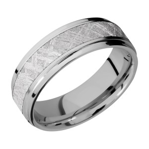 Lashbrook 7FGE14/METEORITE Titanium Wedding Ring or Band