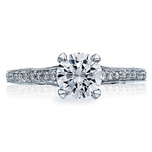 58-2RD65 Platinum Tacori Sculpted Crescent Engagement Ring