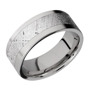 Lashbrook 8F15/METEORITE Titanium Wedding Ring or Band
