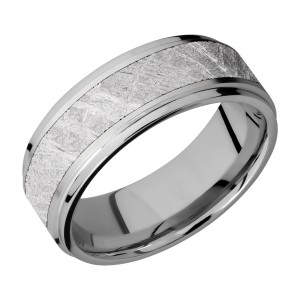 Lashbrook 8FGE15/METEORITE Titanium Wedding Ring or Band