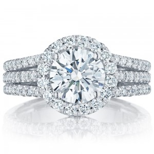 HT2551RD75 Platinum Tacori Petite Crescent Engagement Ring