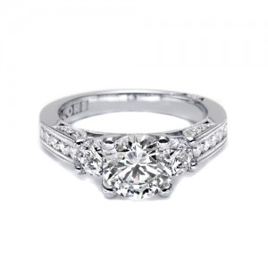 Tacori 18 Karat Three-Stone Diamond Engagement Ring 2636RD75