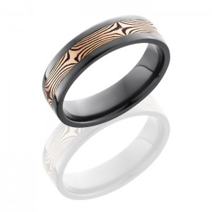 Lashbrook Z6F13-M14RSH Polish Zirconium Mokume Gane Wedding Ring or Band