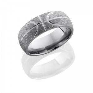 Lashbrook 8D/BASKETBALL POLISH-STIPPLE Titanium Wedding Ring or Band