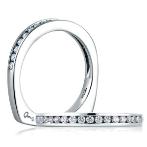 A.JAFFE Signature Platinum Diamond Wedding Ring MRS233 / 27