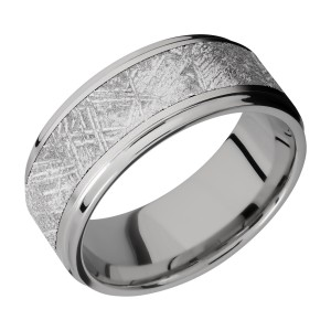 Lashbrook 9FGE16/METEORITE Titanium Wedding Ring or Band