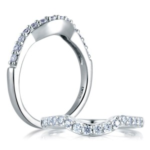 A.JAFFE Classic Platinum Diamond Wedding Ring MR1290 / 28