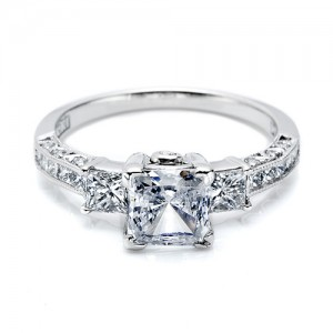 Tacori Platinum Crescent Engagement Ring HT2264