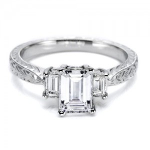 Tacori Platinum Hand Engraved Engagement Ring HT2199