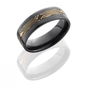 Lashbrook Z7F13-M14KWSH Satin-Polish Zirconium Mokume Gane Wedding Ring or Band
