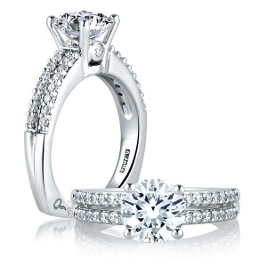 A Jaffe Signature Platinum Engagement Ring MES103