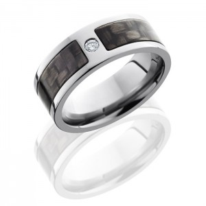 Lashbrook C8F15SEG-CFDIA.07F Polish Titanium Carbon Fiber Wedding Ring or Band