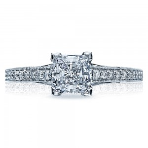 58-2PR55 Platinum Tacori Sculpted Crescent Engagement Ring