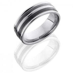 Lashbrook TCR8347 Satin-Polish Ceramic Wedding Ring or Band