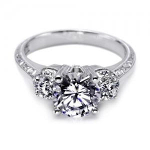 Tacori Hand Engraved Platinum Engagement Ring HT2339