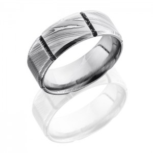 Lashbrook D8B6SEG Polish Damascus Steel Wedding Ring or Band