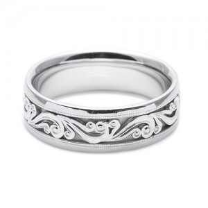 Tacori Platinum Hand Engraved Wedding Band HT2392