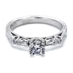 Tacori 18 Karat Hand Engraved Engagement Ring HT2222