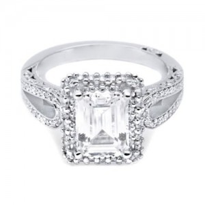 HT2518EC85X65 Tacori Crescent Platinum Engagement Ring