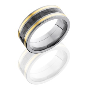 Lashbrook C8F1321-CF14KY Satin Titanium Carbon Fiber Wedding Ring or Band