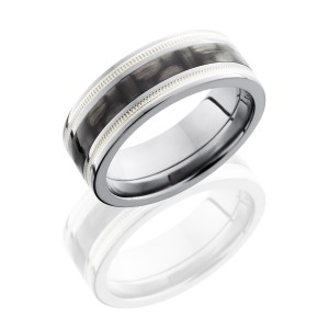 Lashbrook C8F1321-CFSS2UMIL Polish Titanium Carbon Fiber Wedding Ring or Band